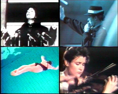 """4 images extraites de la publicité Tampon Nett illustrée par la chanson """"Femmes, je vous aime"""""""