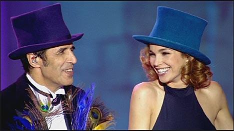Julien Clerc et Claire Keim dans Secret des Enfoirés