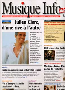 Julien Clerc fait la couverture de Musique Info