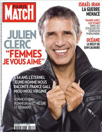 julien clerc en couverture de Paris Match en 2011