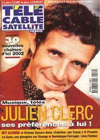 Julien Clerc fait la couverture dans TéléCable Satellite en 2002